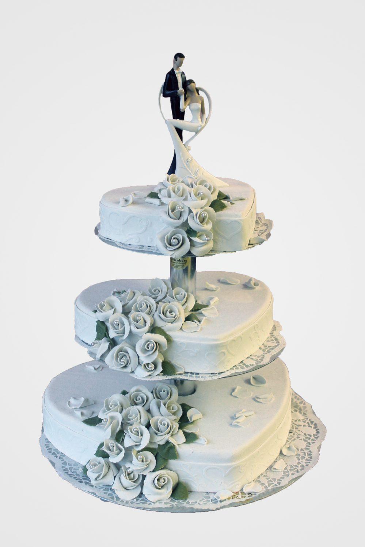 Hochzeitstorte Rosentraum in Herzform