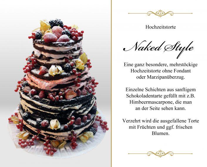 Naked Style Hochzeitstorte Schokolade Himbeere mit Text